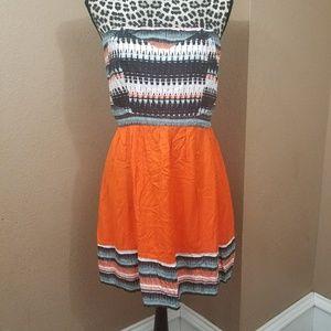 ANTHROPOLOGIE || strapless orange dress